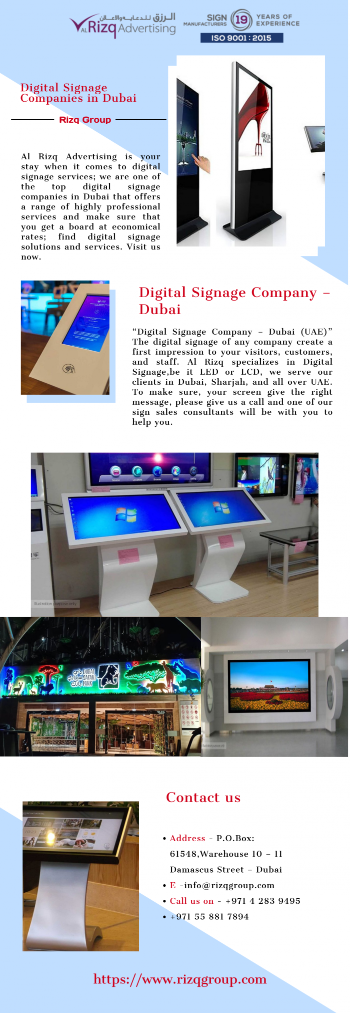 Get Top Digital Signage Companies in Dubai | Rizq Group