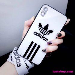 アディダス iPhone11 Proケース 三つ葉 縞柄 Adidas iPhonexs/xrケース 白 黒 新品発売