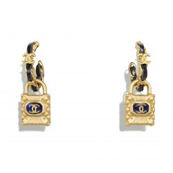 Metal, calfskin, diamanté resin Gold, Black Blue Earrings | CHANEL