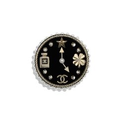 Metal, Glass Pearls, Diamanté Resin Gold, Pearly White, Crystal Black Brooch | CHANEL