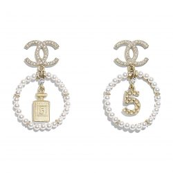 Metal, Glass Pearls Diamantés Gold, Pearly White Crystal Earrings | CHANEL