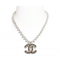 Metal, Glass Pearls, Lambskin Strass Gold, Pearly White, Black Crystal Necklace | CHANEL