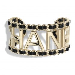 Metal Lambskin Gold Black Cuff | CHANEL