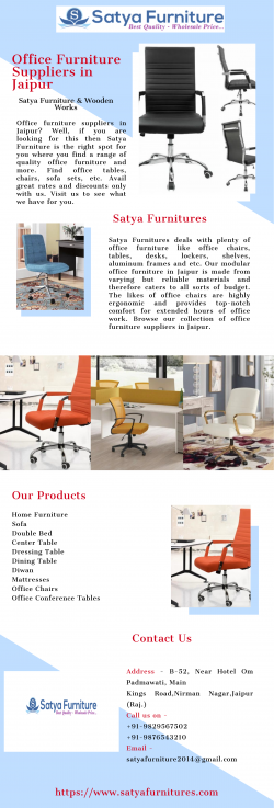 Buy High Quality Office Furniture Suppliers in Jaipur | Satya Furniture