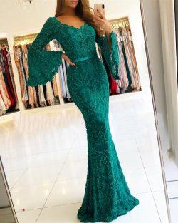 Luxus Abendkleider Lang Günstig Grün | Spitze Abendmoden Online