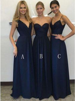 Brautjungfernkleider Lang Dunkel Blau | Chiffon Kleider Für Brautjungfer