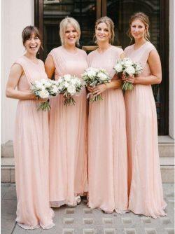 Designer Brautjungfernkleider Lang Rosa | Chiffon Kleider Etuikleider