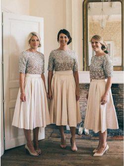Brautjungfernkleider Kurz Mit Ärmel | Günstige Brautjungfernkleid