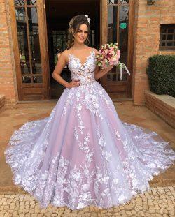 Elegante Brautkleider Mit Spitze | A Linie Hochzeitskleider Günstig