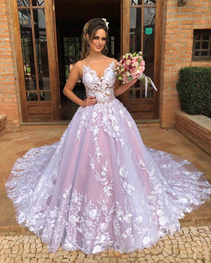 Elegante Brautkleider Mit Spitze   A Linie Hochzeitskleider Günstig