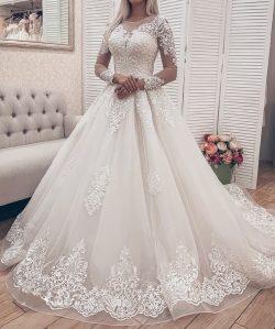 Modern Brautkleider A Linie Mit Ärmel | Hochzeitskleider Spitze Online