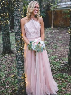 Elegante Brautjungfernkleider Lang Rosa | Kleid für Brautjungfer Spitze