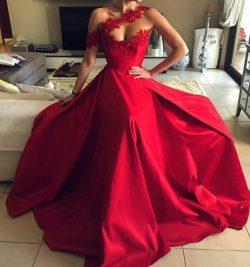 Modern Abendkleider Lang Rot | Abiballkleider Abendmoden Mit Spitze
