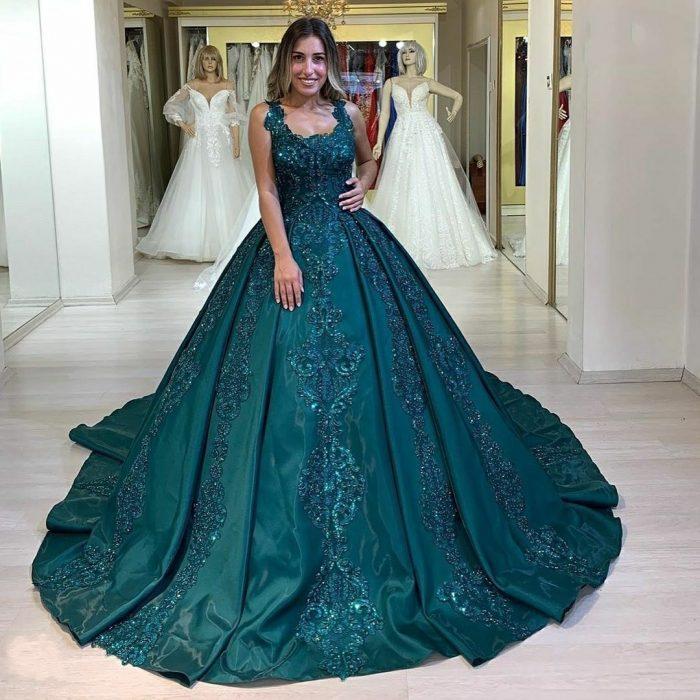 Elegante Abendkleider Grün | Abendmoden Prinzessin mit Spitze