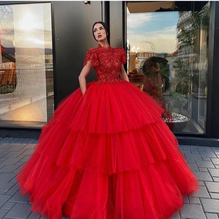 Luxus Abendkleider Rot Prinzessin | Abendmoden Online Kaufen
