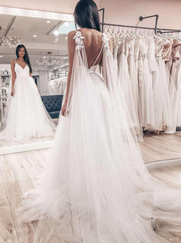 Schlichte Brautkleider A Linie | Tülle Hochzeitskleider Günstig Online
