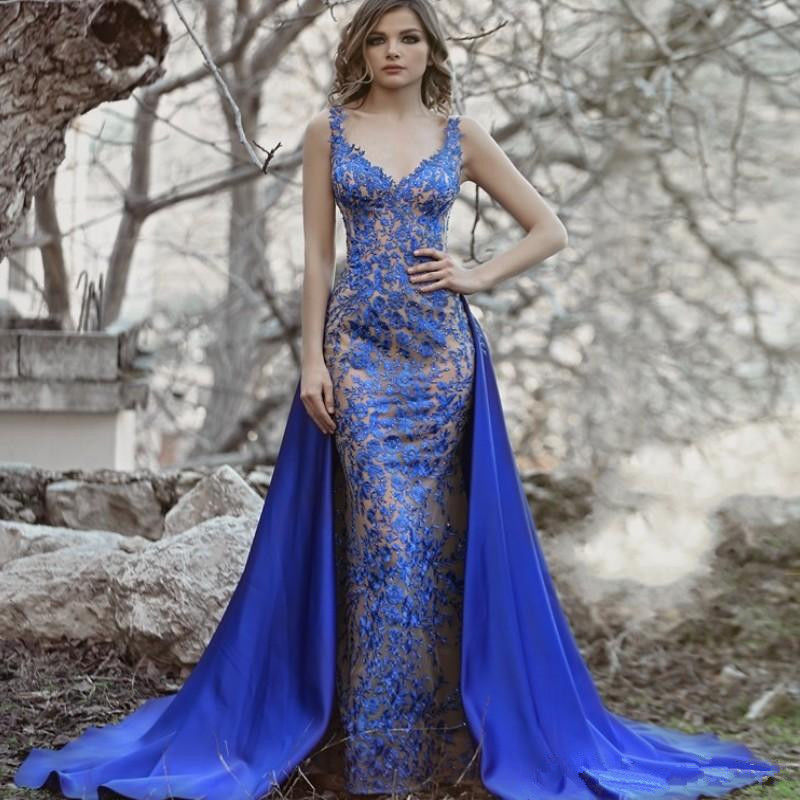 Royal Blau Abendkleider Lang Spitze   Abendmoden mit Spitze