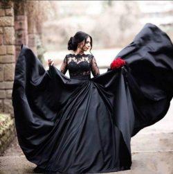 Modern Abendkleider Lang Schwarz | Abendmoden mit Ärmel