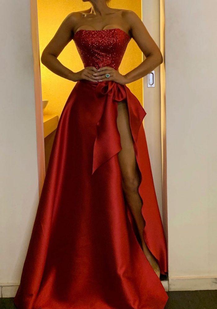 Elegante Abendkleider Lang Rot | Abiballkleider Lang Glitzer