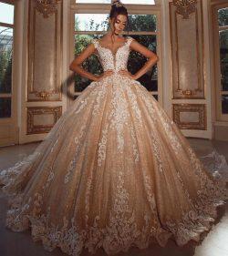 Luxus Hochzeitskleider Lang Glitzer | Brautkleider Prinzessin mit Spitze