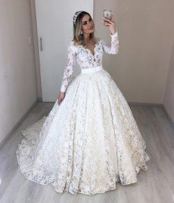 Modern Bruatkleider mit Ärmel | Spitze Hochzeitskleider Günstig Online