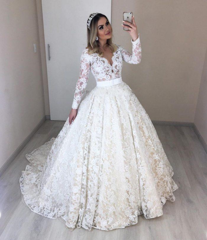 Modern Bruatkleider mit Ärmel   Spitze Hochzeitskleider Günstig Online