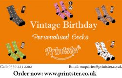 Vintage Birthday Personalised Socks