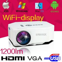 Wireless Wifi 3D HDMI LCD LED Mini Projector For Mobile Phone Iphone Ipad Tablet