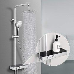 Moderner runder Duschkopf verstellbarer Duschstange Homelody Duschsystem mit Regalen