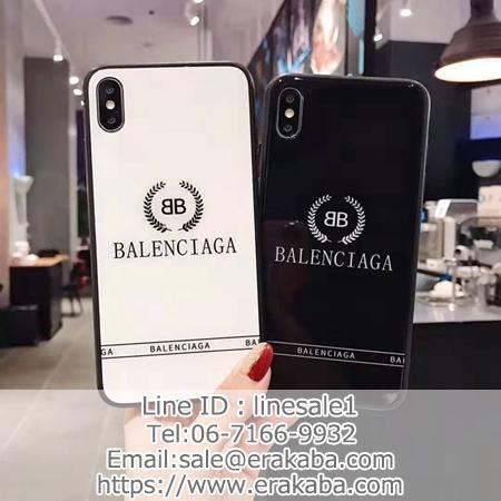 バレンシアガ iPhone11pro maxフルカバー シンプル ツヤ感 balenciaga iphone xr/xs maxカバー 背面ガラス