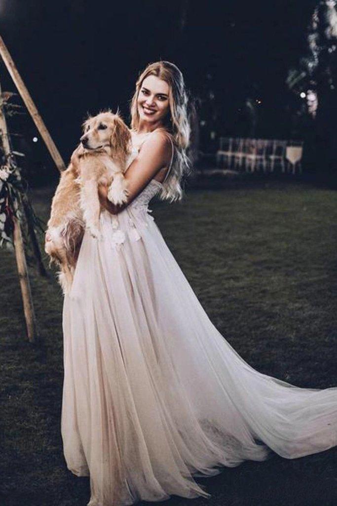 A Line Spaghetti Straps V Neck Beach Wedding Dress Summer Bridal Dress – PromDress.me.uk