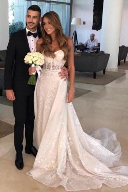 A Line Sweetheart Lace Tulle Wedding Dresses Appliques Wedding Gowns – PromDress.me.uk