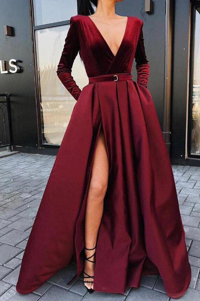 A line Long Sleeve Burgundy Prom Dresses Satin Deep V Neck High Slit Evening Dress JS650
