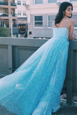 Charming A Line Spaghetti Straps Blue Tulle Prom Dresses with Stars – PromDress.me.uk