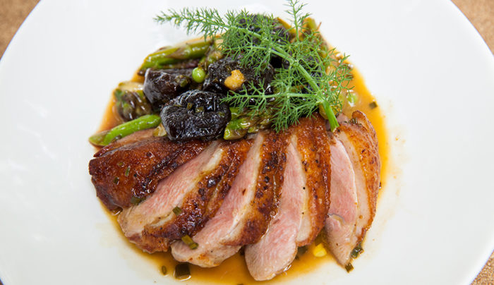 Crispy Skin Duck Breast, Asparagus & Peas with a Brandy & Prune Butter Sauce | Good Chef ...