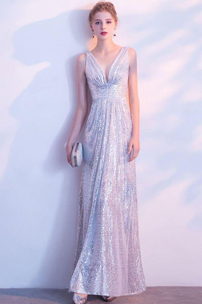 Zipper Back Sparkly Silver Long V-Neck Open Back Long Prom
