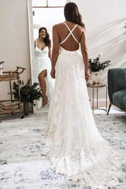 Elegant A Line V Neck Lace Ivory Beach Wedding Dresses with Slit – PromDress.me.uk