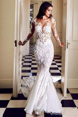 Long Sleeve See Through Mermaid Tulle Wedding Dresses Lace Appliques – PromDress.me.uk