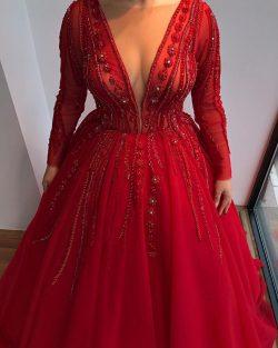 Luxus Abendkleider Rot Mit Ärmel | Abendmoden Große Größe Online