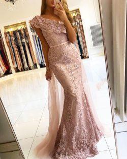 Luxus Abendkleider Spitze | Rosa Abendmoden Günstig Online