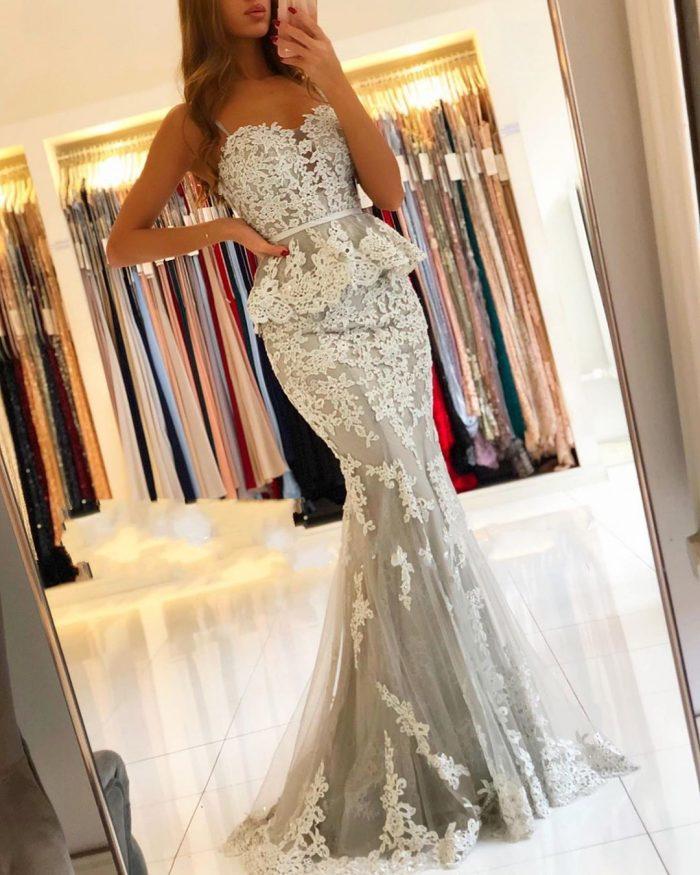 Elegante Abendkleider Lang Spitze | Abendmoden Abiallkleider Online Kaufen