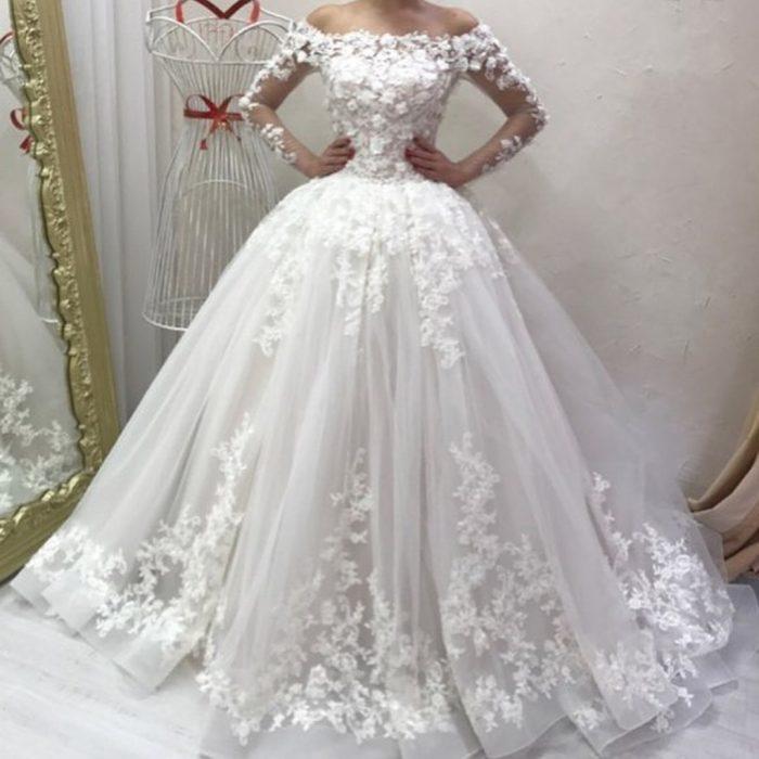 Designer Brautkleider mit Ärmel | Hochzeitskleider A linie Mit Spitze