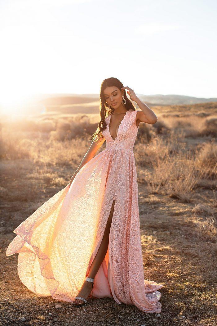 Abendkleider Lang V Ausschnitt Rosa   Abiballkleider Mit Spitze