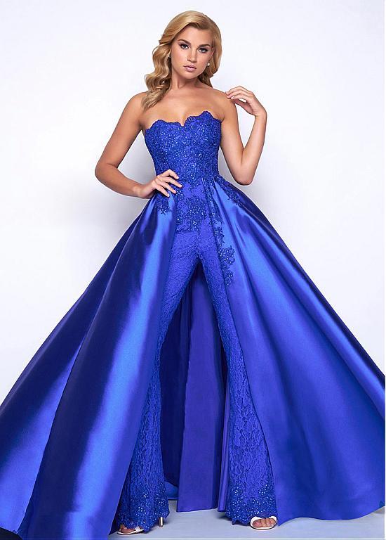 König Blau Abendkleider Lang Günstig   Abiballkleider Mit Spit