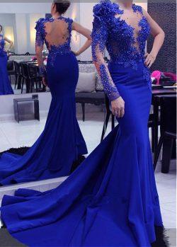 Elegante Abendkleider Mit Ärmel | Köning Blau Abendmoden Spitze