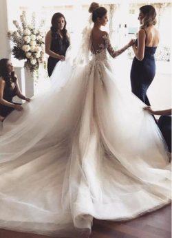 Fashion Hochzeitskleider mit Ärmel | Brautkleider Spitzeärmel Günstig