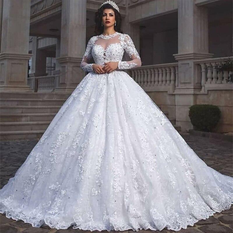 Elegante Brautkleider A Linie | Spitze Hochzeitskleider mit Ärmel