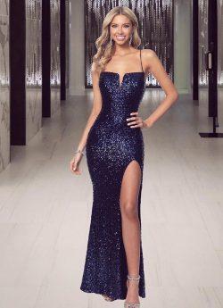 Navy Blau Abiballkleider Lang Glitzer | Abendmoden Günstig Online