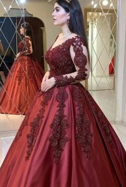 Weinrot Abendkleider mit Ärmel | Prinzessin Abendmoden mit Spitze