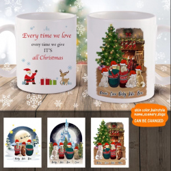 3D Preview – Personalized Family Christmas Mugs